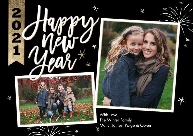 New Year's Photo Cards Mail-for-Me Premium 5x7 Flat Card, Card & Stationery -New Year 2021 Banner Collage by Tumbalina