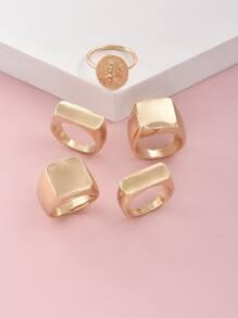 5pcs Geometric Shaped Ring