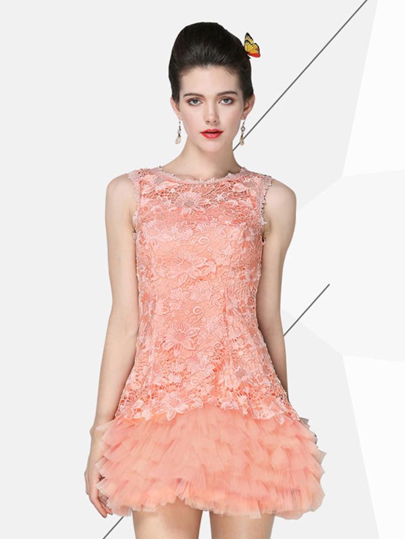 Ericdress Lace A-Line Short Zipper-Up Homecoming Dress