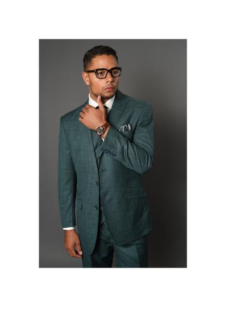 Statement Brand Mens REGULAR ITALIAN Wool FABRIC Vest Hunter Green