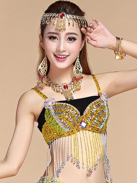Milanoo Belly Dance Top Belly Dancer Sequin Fringe Beading Women Dancing Wear