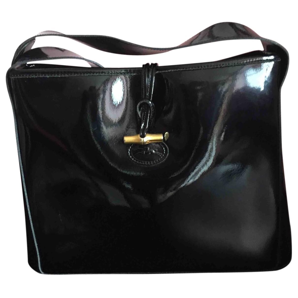 Longchamp - Sac a main   pour femme en cuir verni - noir