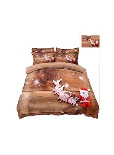 Reindeer Pull Santa's Sleigh Printing Polyester 3D 4-Piece Bedding Sets/Duvet Covers