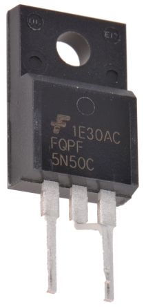 ON Semiconductor N-Channel MOSFET, 5 A, 500 V, 3-Pin TO-220F  FQPF5N50CYDTU (10)