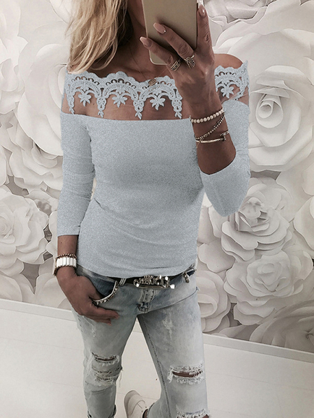 Yoins Grey Lace Insert Off Shoulder Long Sleeves T-shirt