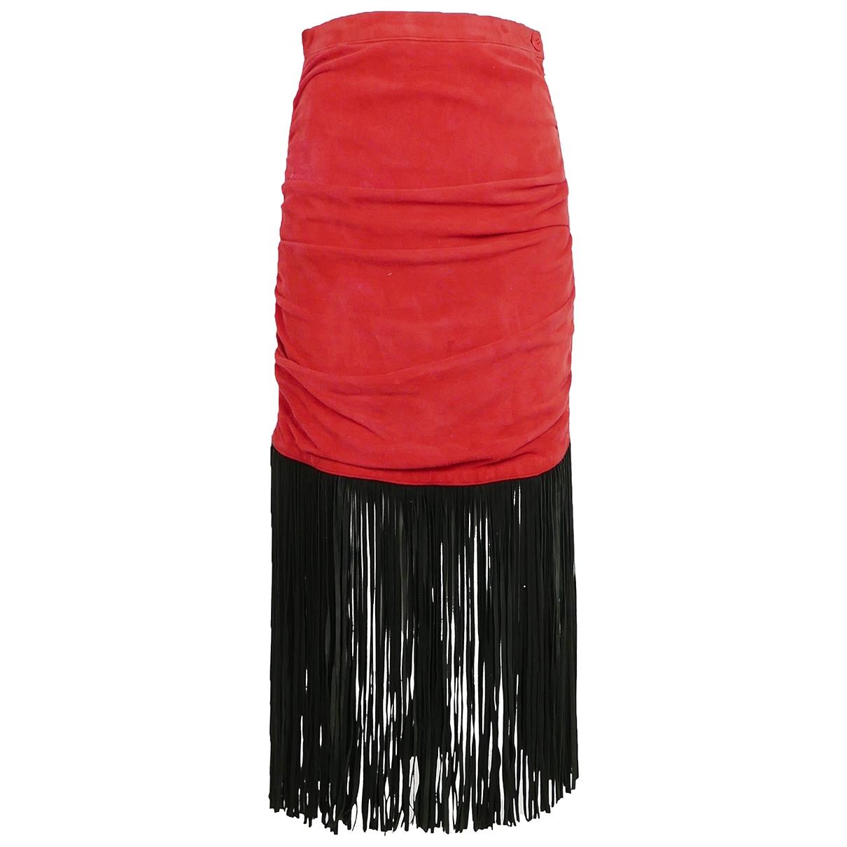 Yves Saint Laurent \N Red Suede skirt for Women 36 FR