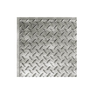 Fasade Diamond Plate Revealed Edge Decorative Vinyl 2ft x 2ft Lay In Ceiling Tile in Crosshatch Silver (5 Pack) (12x12 Inch Sample)