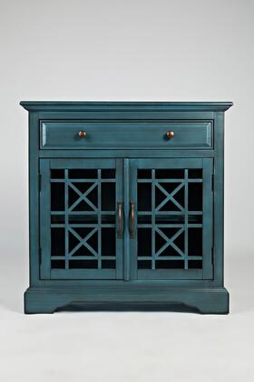 BM183988 Craftman Series 32 Inch Wooden Accent Cabinet with Fretwork Glass Front