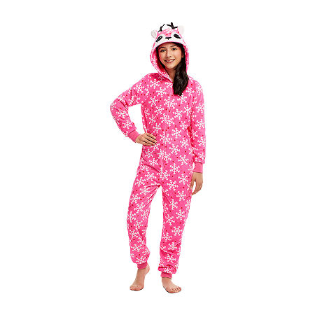 Jelli Fish Kids Little & Big Girls Fleece Long Sleeve One Piece Pajama, Medium , Pink