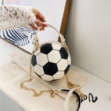 Football Shaped Double Handle Satchel Bag