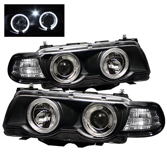 Spyder Auto PRO-YD-BMWE3899-HID-HL-BK 1PC Black LED Halo Projector Headlights  with High H1 Lights Included BMW E38 750i with Xenon|HID Lights 95-01