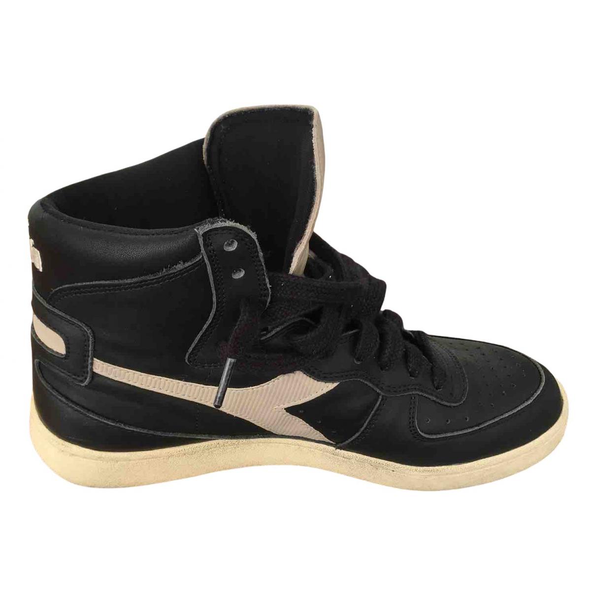 Diadora Heritage - Baskets   pour homme en cuir - noir