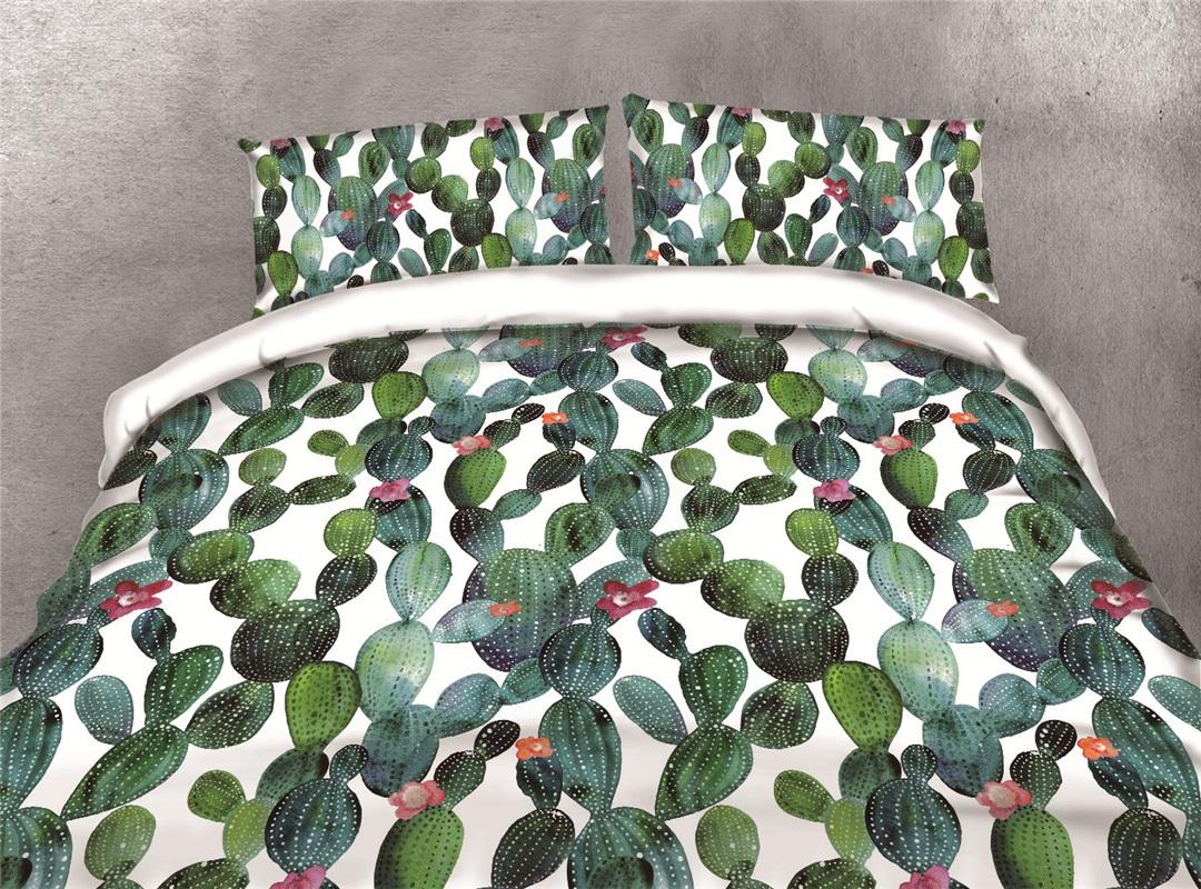 Dense Cactus Printing Cotton 4-Piece 3D Bedding Sets/Duvet Covers