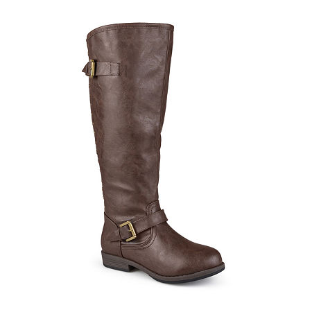 Journee Collection Womens Spokane Extra Wide Calf Riding Boots, 10 Medium, Brown
