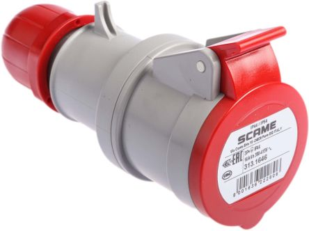 RS PRO IP44 Red Cable Mount 3P+E Industrial Power Socket, Rated At 16.0A, 415.0 V