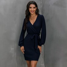 Surplice Neck Belted Fitted Dress