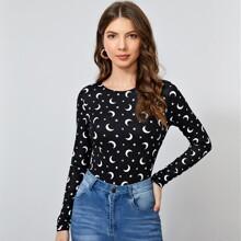 T-Shirt mit Stern & Mond Muster