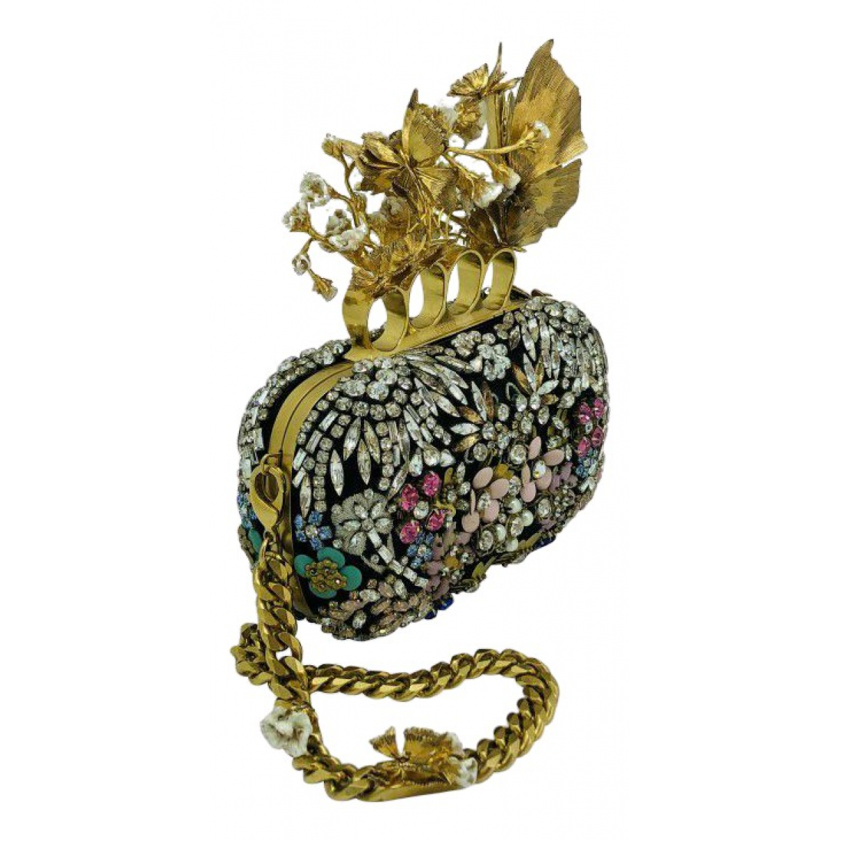 Alexander Mcqueen Knuckle Clutch in  Gold Leder