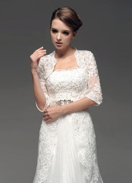 Milanoo Ivory de encaje tul boda nupcial manton