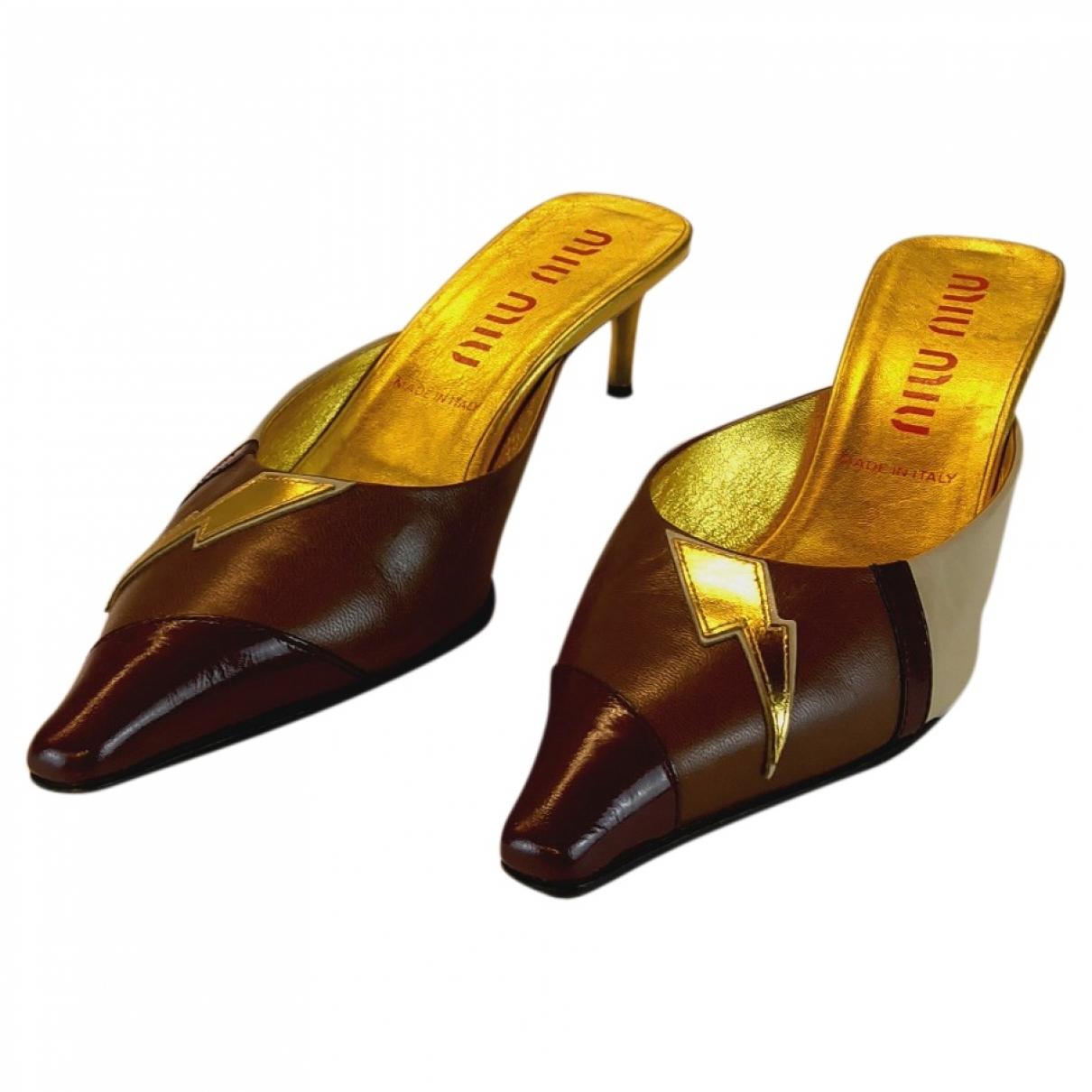 Miu Miu - Sandales   pour femme en cuir - multicolore