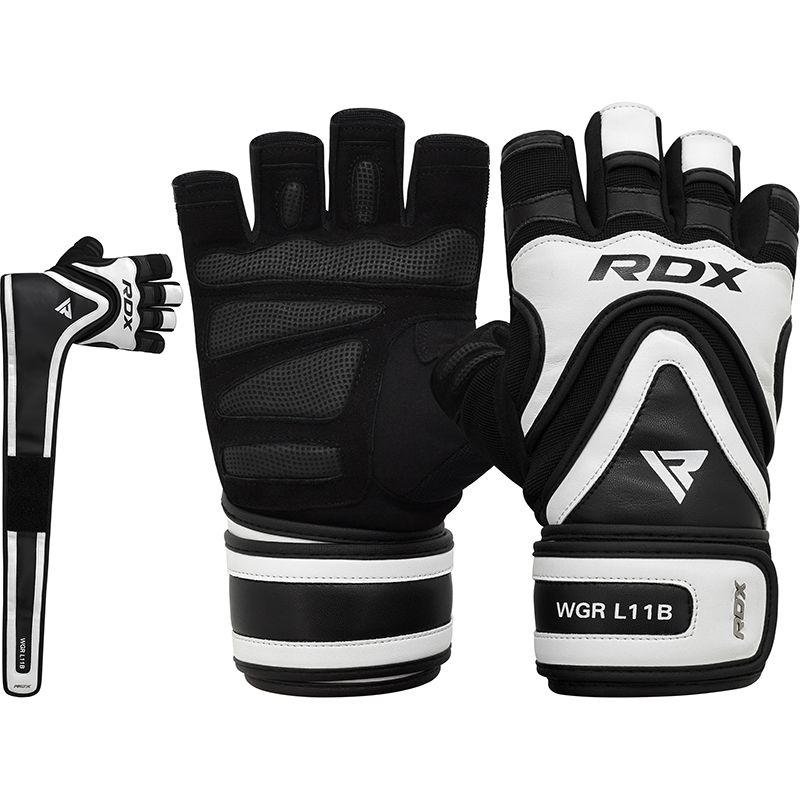 RDX L11 Heavy Weightlifting Wrist Support Long Strap Pro Grip Gym Gloves