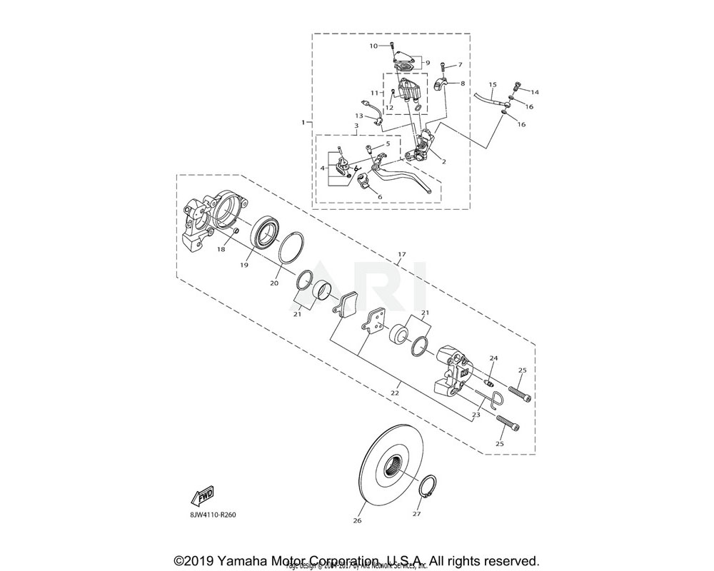 Yamaha OEM 8JP-F5924-00-00 PIN, PAD
