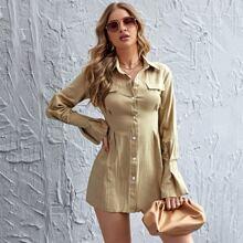 Shirt Kleid mit Knopfen vorn und Schosschenaermeln ohne Guertel