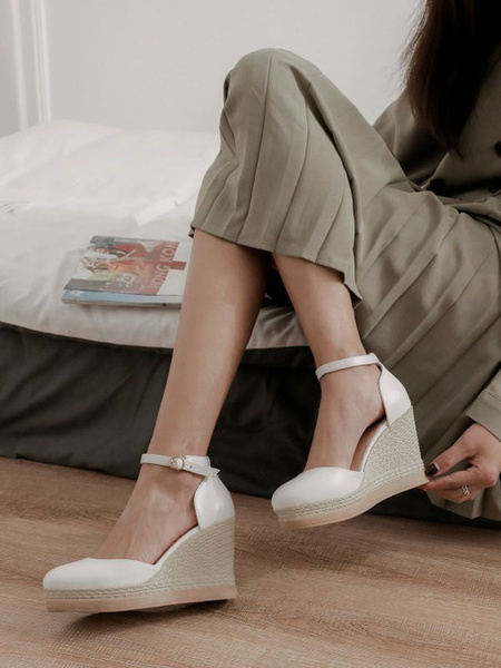 Milanoo Sandalias de cuña para mujer Increibles zapatos de cuña con correa de tobillo de cuero de PU