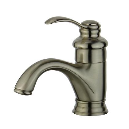 Barcelona Collection 10118A1-BN-W Single Handle Bathroom Vanity Faucet with Pop-Up Drain with Overflow in Brushed