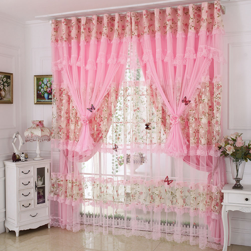 Princess Style Lace Embroidery Blackout Curtain Drapes Custom Double Pinch Pleat for Living Room Bedroom