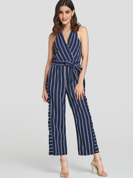 Yoins Navy Stripe Crossed Front Maxi Jumpsuit with Belt