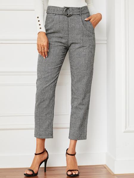 YOINS Grey Belt Design Check High-Waisted Pants