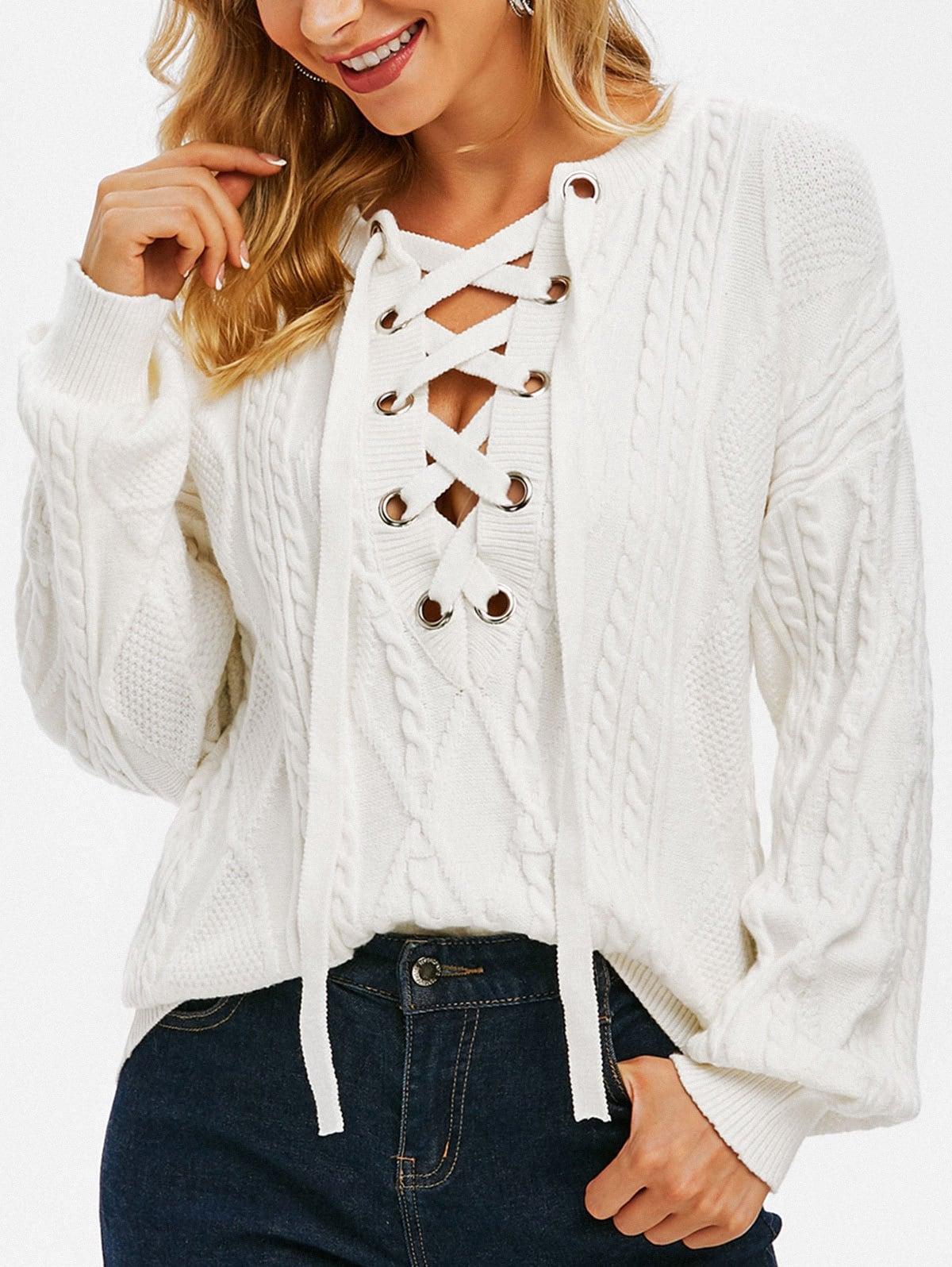 Drop Shoulder Cable Knit Lace Up Sweater