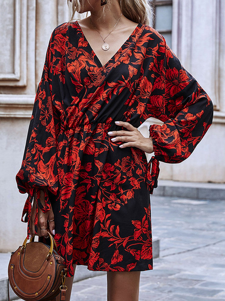 Milanoo Women Skater Dresses Printed Chiffon V-Neck Red Casual Long Sleeves Flared Sleeves Flared Dress