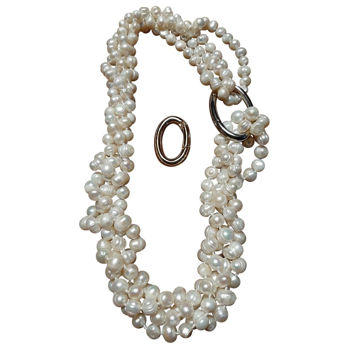 Non Signe / Unsigned \N Halskette in  Weiss Perlen