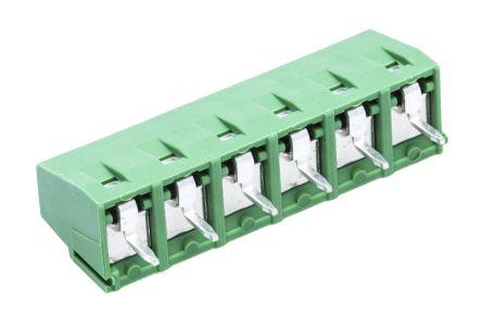 TE Connectivity , Buchanan 5.08mm Pitch, 6 Way PCB Terminal Strip, Green (5)