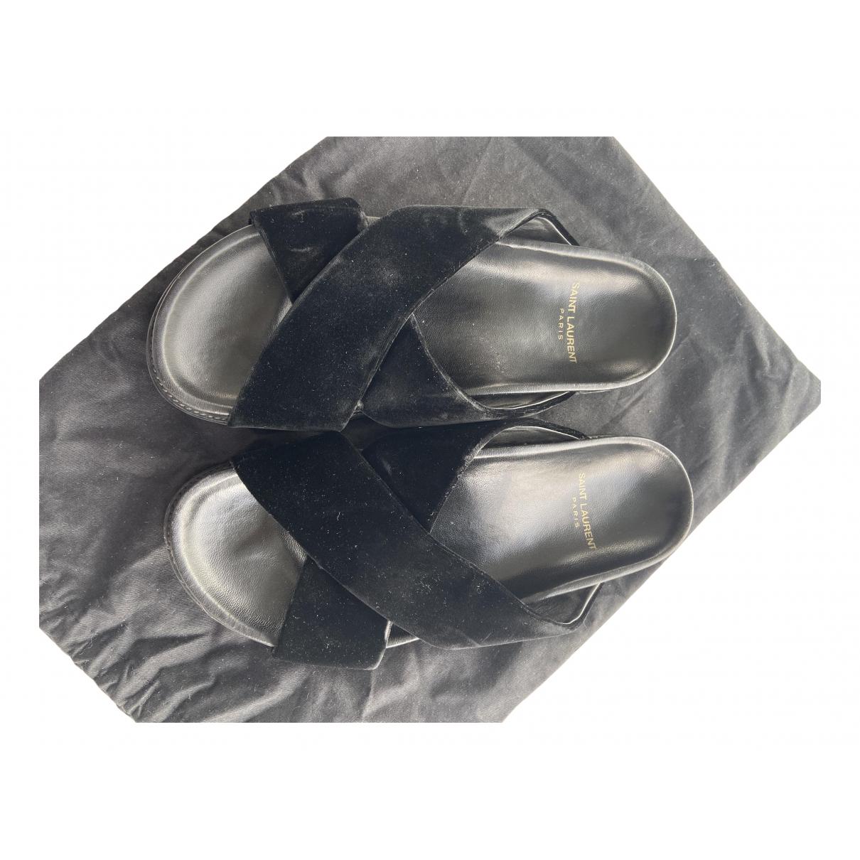 Saint Laurent \N Black Velvet Sandals for Women 40 EU