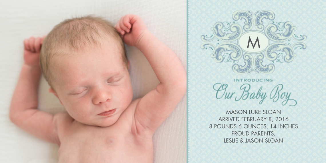 Newborn 4x8 Flat Card Set, 85lb, Card & Stationery -Blue Ornate Plaque Monogram