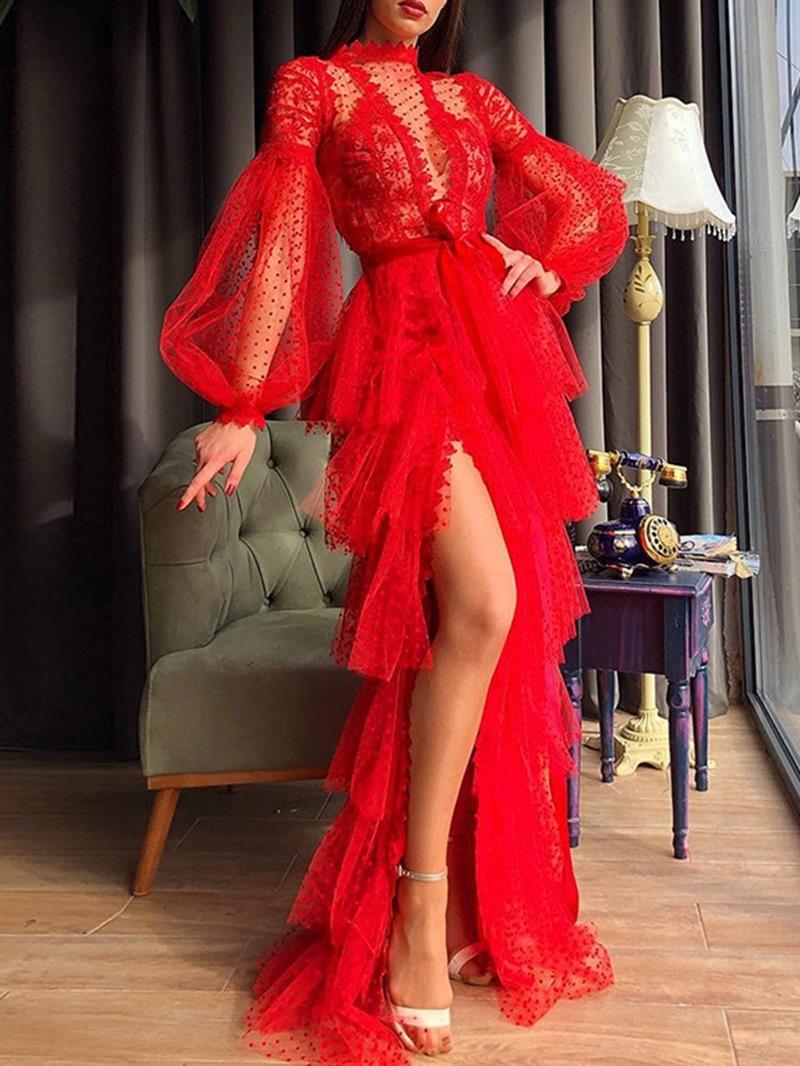 Ericdress Floor-Length Long Sleeve Stand Collar High Waist Layered Dress Dress
