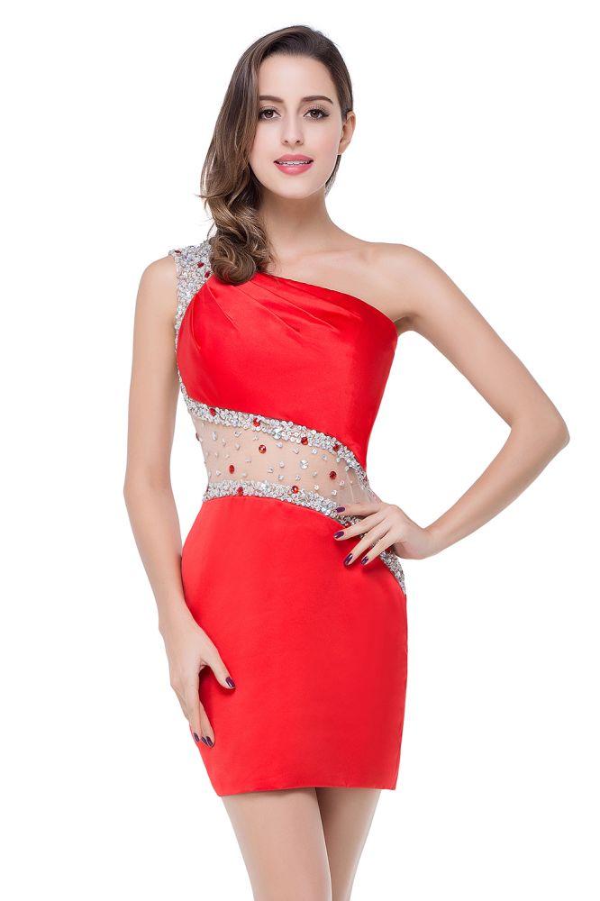 ELLE | Vestidos de baile cortos de sirena de un solo hombro con listones de cristal