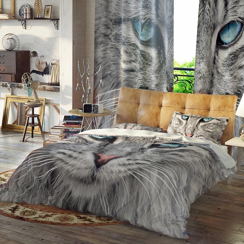 Blue Cat Duvet Cover Set Reactive Printing Three-Piece Set Polyester Bedding Sets
