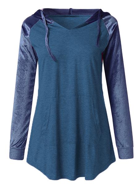 Yoins Blue Adjustable Patchwork Pullover Long Sleeves Hoodie