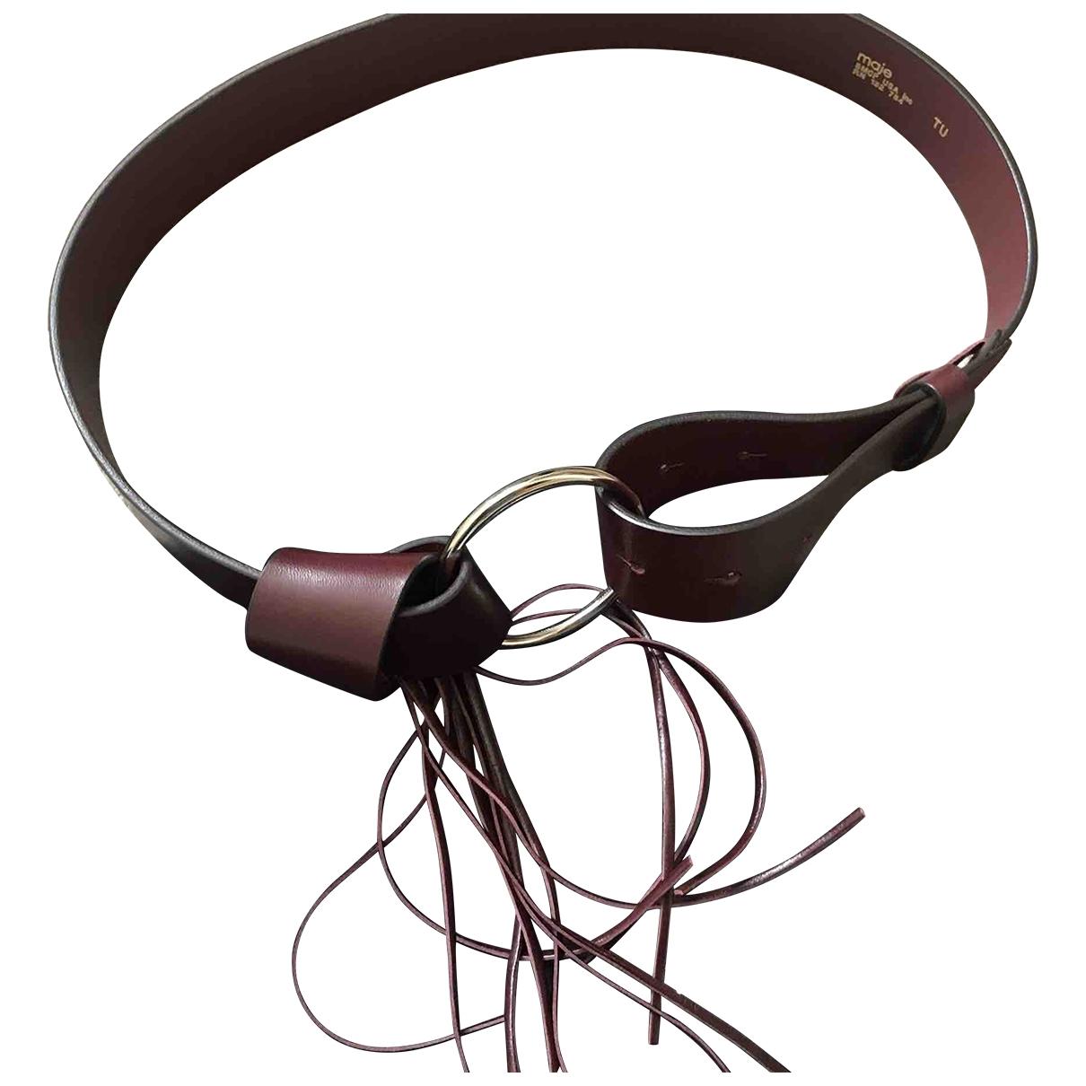Maje \N Burgundy Leather belt for Women 85 cm