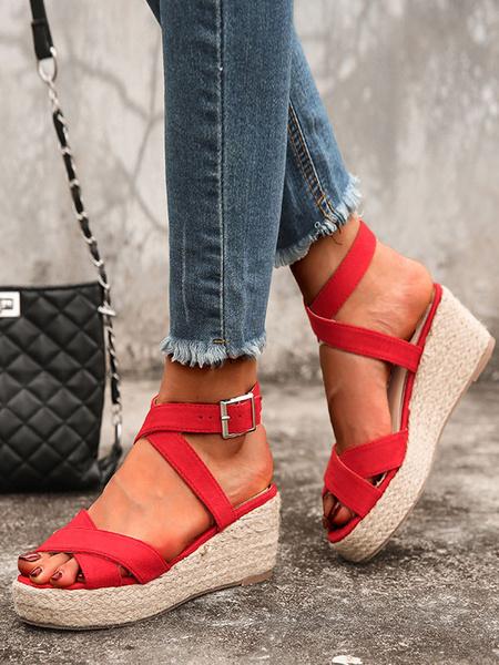 Milanoo Women Sandals Wedge Heel Casual Sandals Criss-Cross Black Wedge Sandals