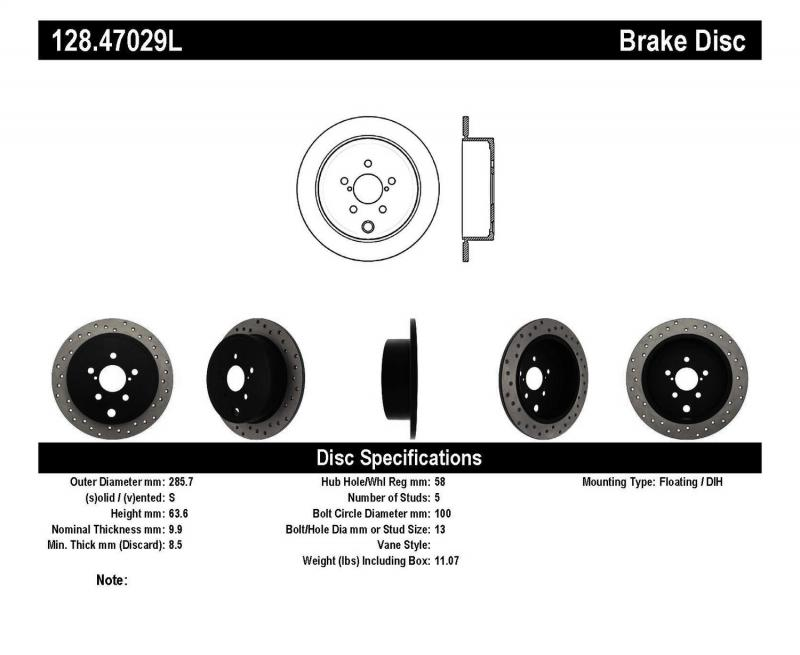 StopTech 128.47029L Sport Cross Drilled Brake Rotor; Rear Left Subaru Rear Left