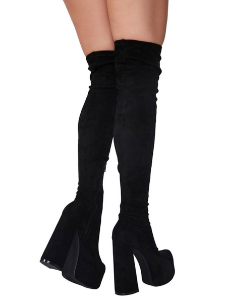 Milanoo Women Over The Knee Boots Elastic Fabric Nude Pointed Toe Thigh High Boots