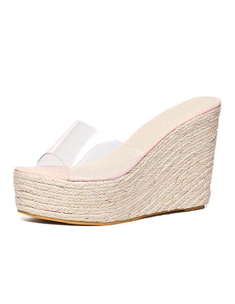 Milanoo Apricot Sandal Slippers Women Transparent Peep Toe Backless Wedge Sandal Shoes Platform Espadrilles Sandals