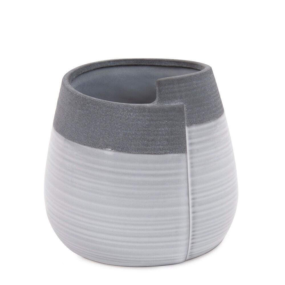 Rolled Two Tone Gray Vase, Small - 6H x 6W x 6D (6H x 6W x 6D)