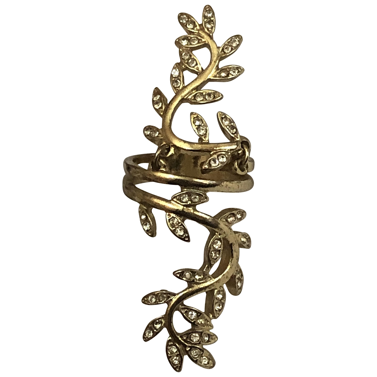 Non Signe / Unsigned Bagues Cocktails Ring in  Gold Kristall