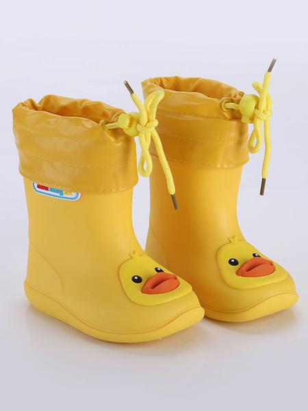 Milanoo Girl\'s Rain Boots Kids Children Round Toe Cute Cartoon Frog Pig Duck Waterproof Rain Boots